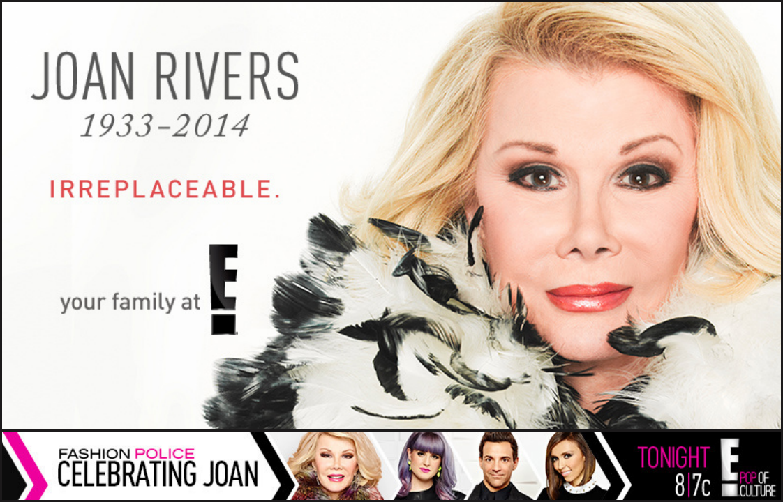 Remembering Joan Rivers: tune in for today's #FashionPolice marathon, followed by a special #JoanDay tribute on E! http://t.co/uz3DR2cjnm