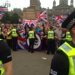 RT @NeilMackay: Yes campaign dont rise to far right racist, sectarian hate. Loyalists in football hooligan mode. George Sq #indyref http://t.co/cxWqMec6aE