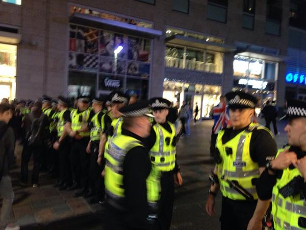 Buchanan Street now focus of this utter  riot. Police barricade off the top of street. Subway station closed http://t.co/ial4HNd13a