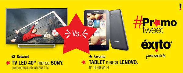 Con #PromoTweet tú eliges, RT si quieres descuentos en TV LED SONY o FV si quieres descuentos en TABLET LENOVO http://t.co/bJf7sd5cFy