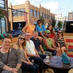 The @BetterBlockOKC crew and friends are finishing off their day hanging out at the @frontlineokc parklets. http://t.co/aflio5Tui1