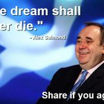 "RT @RichardlyleSnp: : ""The dream shall never die."" - Alex Salmond. RT if you agree. #indyref #the45 http://t.co/1l0iM97zCB"""