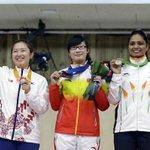 Shweta Chaudhary on victory podium @ Bronze Medal @ 10m Air Pistol Event http://t.co/ThssiDRAiH