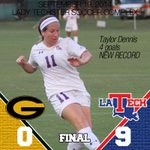 RT @LATechSOC: A huge CONGRATS to Taylor Dennis who set the program record with four goals in a single game!! #WeAreLATech http://t.co/ygWdt1gx9c