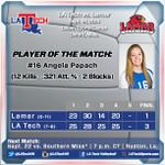 FINAL: LA Tech defeats Lamar, 3-1 (25-23, 28-30, 25-14, 25-20), for the teams second win of the day! #WeAreLATech http://t.co/cThsQTuHNw