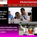RT @newsroompostind: Jitu Rai wins Gold and Shweta Chaudhary wins Bronze at #AsianGames2014 http://t.co/q0JnuZ3NYD