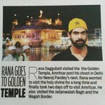 RT @Bazinga_Ent: Aftr wrappin shoot 4 his current sched of Neeraj Pandey's Baby in Delhi, @RanaDaggubati visited d Golden Temple @dna