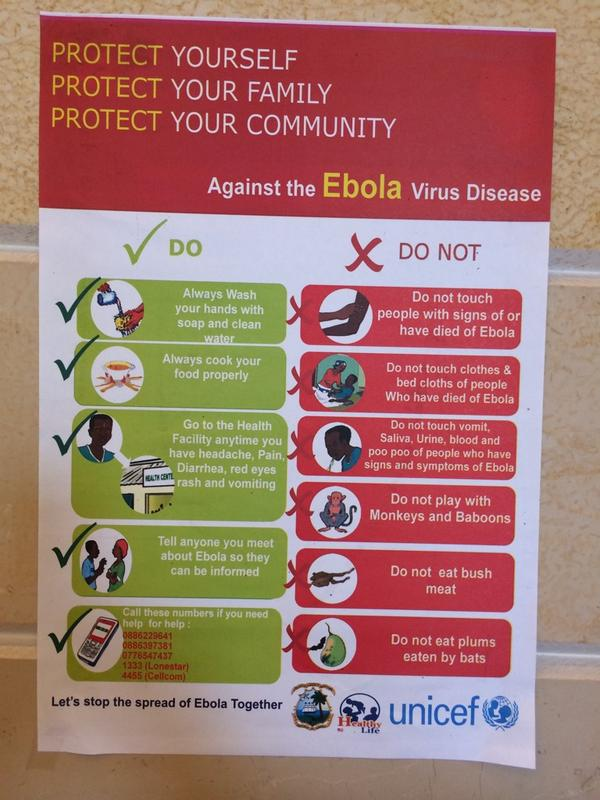 Ebola dos and donts. From lobby of Royal Grand Hotel in Monrovia. http://t.co/83ZQMcvhKj