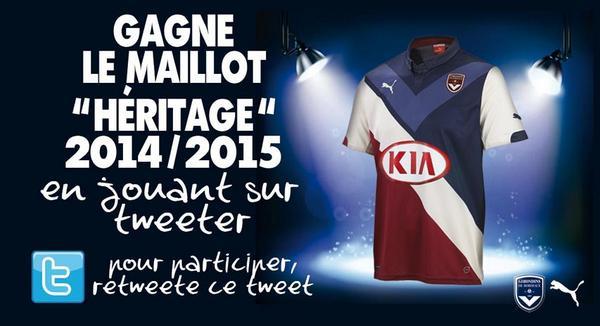"Retweete ce post et gagne le maillot ""Héritage"" 2014/2015 ! #JeuGirondinsHeritage http://t.co/RN9nS3VyLj"