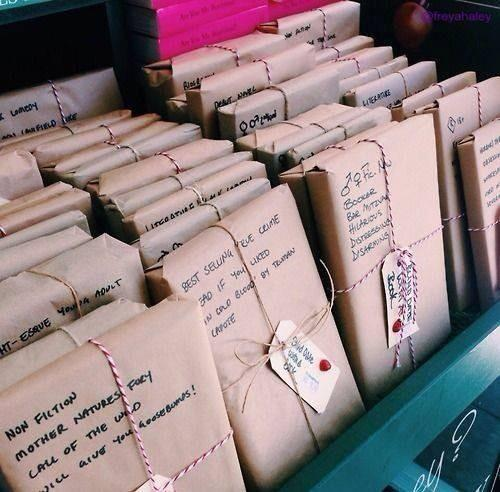 A book store where books are wrapped in paper with short descriptions so no one will 'judge a book by it's cover' http://t.co/EfOErVemom