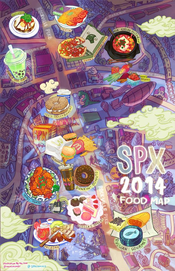 The amazingly talented @yaoxiaoart did us a huge solid this year.  She created a beautiful food map for SPX! http://t.co/4nGX5RESMW