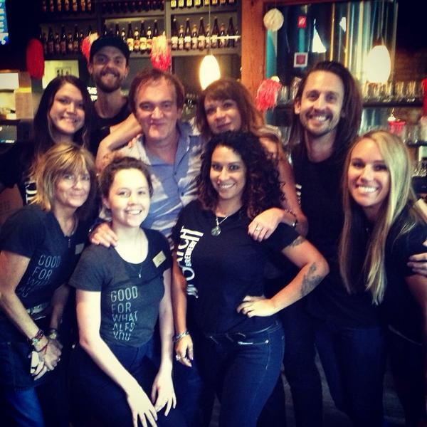 #QuentinTarantino stopped by our downtown pub for lunch & a beer. He was nice enough to take a photo with our staff. http://t.co/tTaSW2NITZ