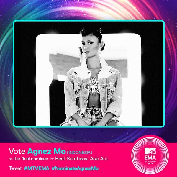 NEZindaCLUB OFFICIAL (@NICofficial): VOTE @agnezmo as the final nominee for Best Southeast Asia Act. Let's tweet >> #MTVEMA #NominateAgnezMo GO!!! http://t.co/eaodxCPpgd