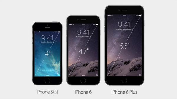 Here we are, folks! Two iPhones: the iPhone 6 and iPhone 6 Plus. #AppleLive http://t.co/iZ5ywotCtG