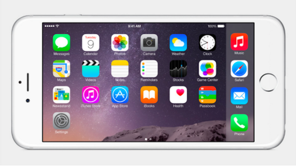Here's what the new iPhone 6 home screen looks like in landscape mode. #AppleLive http://t.co/AAOoqzlBcd