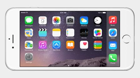 New horizontal home screen on iPhone 6 Plus. http://t.co/pClJKkAIPc