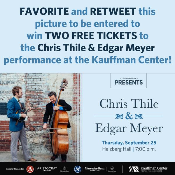 Enter to win TWO FREE TICKETS to see Chris Thile & Edgar Meyer! FAVORITE and RETWEET this picture by Friday at noon. http://t.co/FBlLSs494T
