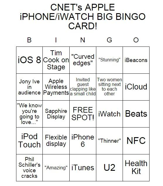 Play #CNET's Apple iPhone/iWatch BINGO with the Live team! https://t.co/53mYsF5dUN #iPhone #Apple #CNETLive http://t.co/XN73vYAoNy