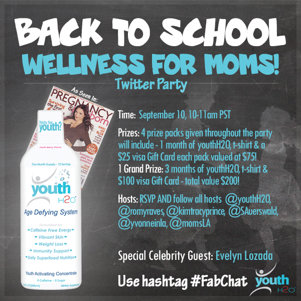 @YouthH2O party! tomorw 10-11am Pst! w/ @EvelynLozada #giveaways @romyraves ! #fabchat http://t.co/6Ry1Bce2NB