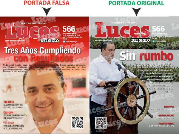 @_TripleW Las dos portadas de @lucesdelsiglo: la real y la que el gobierno de #QuintanaRoo publicó @WRADIOMexico http://t.co/4p8WXaab4v