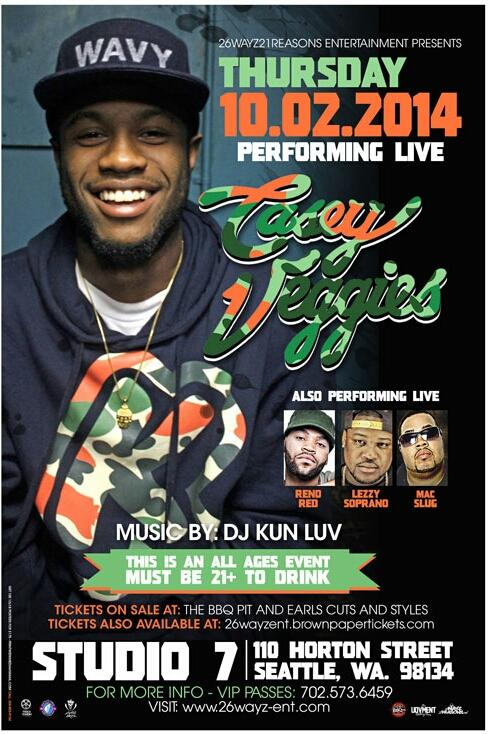 This is gonna be crackin! @RenoRed @leezysoprano @macslug w/ @CaseyVeggies at @studio7seattle DJ @kunluv #ALLAGES http://t.co/VCVhWXinJz