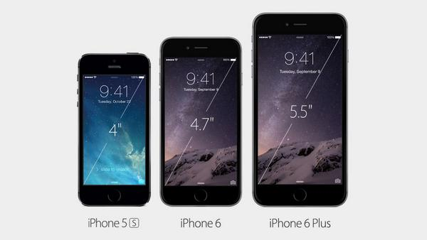 NEWS: the size of iPhone 6 and 6 Plus in comparison to the iPhone 5s. http://t.co/K6Ydy49qts