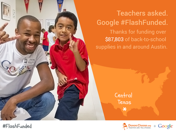 Glad to help! RT @DonorsChoose Hey, Austin! @Google just #flashfunded all 133 back-to-school projects in your city. http://t.co/bmqjrkbbM8
