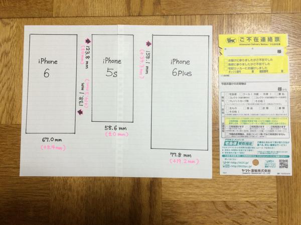 試しに iPhone 各種のサイズを紙に書いてみましたが、やっぱりちょっと大きいかな…。宅配便の不在表よりは 6 Plus でも一回り小さいので、両手で使うなら悪くはないサイズですね。ポケットに忍ばせるには大きそうですが。 http://t.co/mLlLe8c8ra