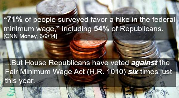 71% of Americans support #RaisetheWage, but House Rs have voted 6x against Fair Minimum Wage Act to raise min wage http://t.co/PeObrSR6nB