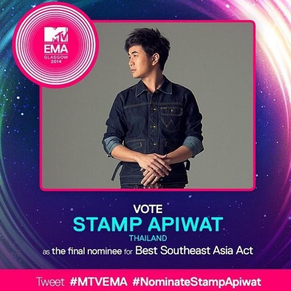 @StampApiwat เข้าชิง MTV Europe Music Award ร่วมโหวตโดยการ Tweet ติด tag #MTVEMA #Nominatestampapiwat กัน!! @mtvasia http://t.co/Qw0Rt4FIqL