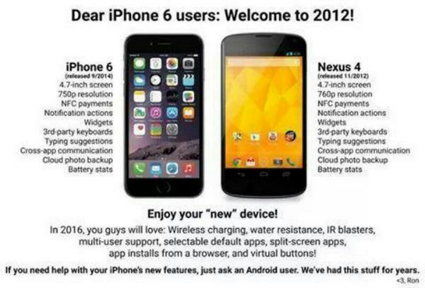Una de las muchas sátiras iPhone 6 vs. Android que circulan hoy por ahí… http://t.co/gyAeClRVtl