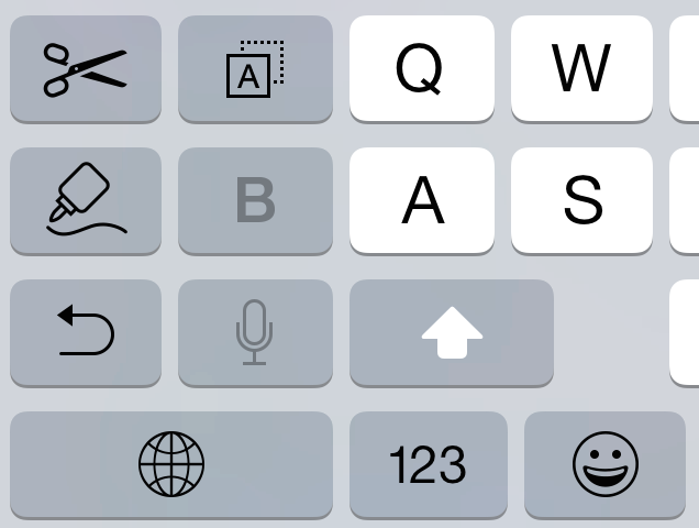 Ответил(а) 0 раз. The iPhone 6+ keyboard has copy/paste keys in landscape