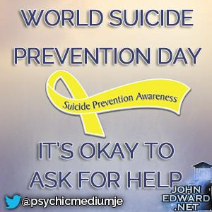 September 10th is National Suicide Prevention Day! Remember it's okay 2 ask for help! In the US/Canada 1-800-273-8255 http://t.co/FLElk9iIsS