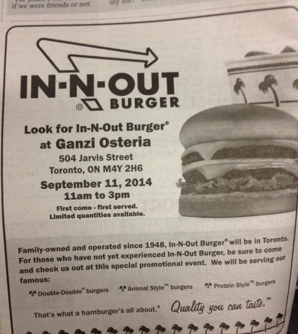 Is this real life!? In-N-Out Burger is opening a 1 day pop-up in Toronto tomorrow at @GanziToronto! http://t.co/UfuNGIbfDQ
