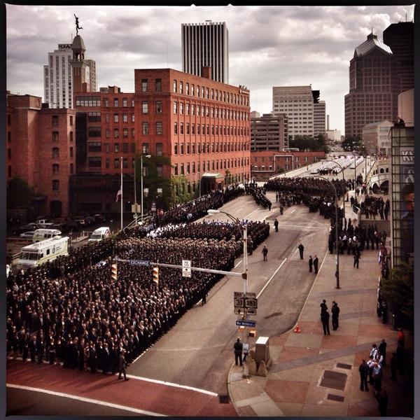 Scene on Broad St for Pierson funeral  #rpd #rip1846 #roc http://t.co/Qa7pgYE23Q