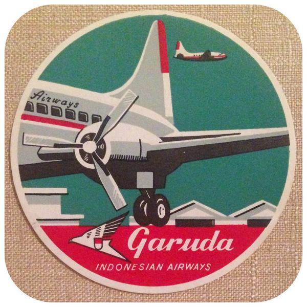 Stiker @IndonesiaGaruda tahun 1950an yang dikoleksi dan disimpan di Andy Warhol Museum, Pittsburgh http://t.co/4sgFTAxIZx