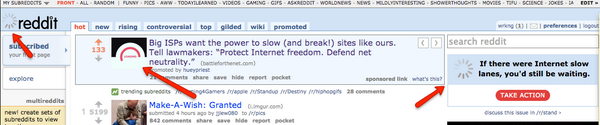 this is what the front page of @reddit looks like today #internetslowdown #netneutrality Go Team Internet! http://t.co/RNNXzEX6RL