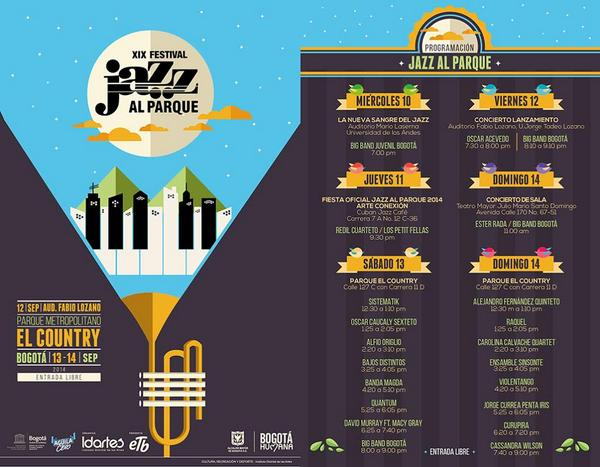 Prográmense con #JazzAlParque2014 este 10 11, 12, 13 y 14 de septiembre http://t.co/sEkk5Kwisr @FestalParque @idartes http://t.co/08tEVHY25N