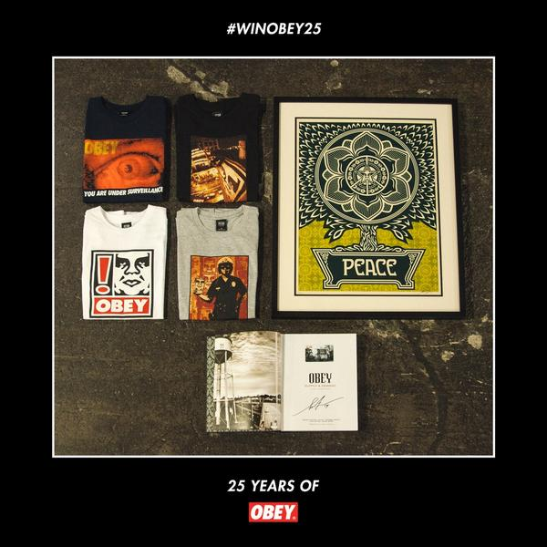 Retweet for a chance to win all 4 tees, signed Peace Tree Print, signed Supply & Demand & $100 gift card #WINOBEY25 http://t.co/M3juxWlG6l