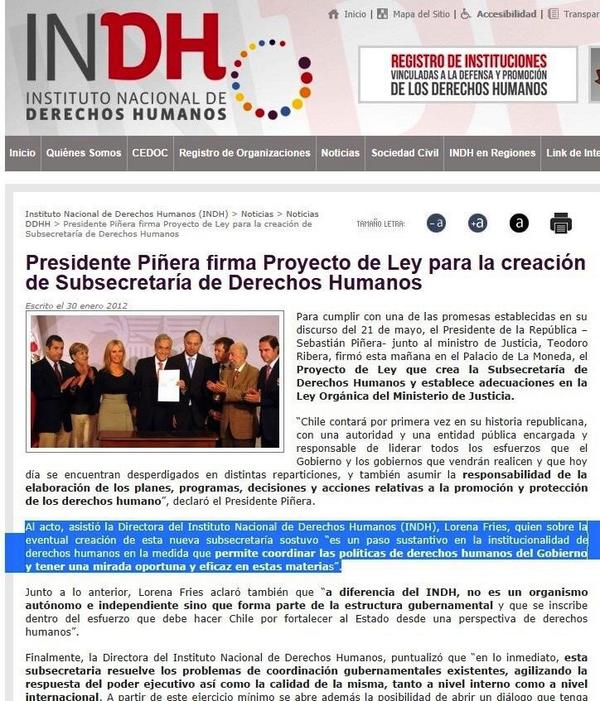 """Bachelet: """"Crearemos la Subsecretaría de Derechos Humanos"""". Subsecretaria fue aprobada en enero x el Senado. http://t.co/EFAhDWJQi4"""