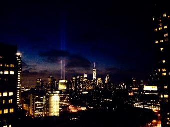 Took this photo of lower Manhattan last night. #911Anniversary #NeverForget http://t.co/4unfrzG5ff