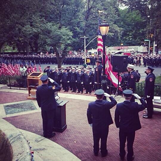 #FDNY members honor the 343 lost on 9/11 during a remembrance ceremony at the FFs Monument. http://t.co/kDH0xsA9wL