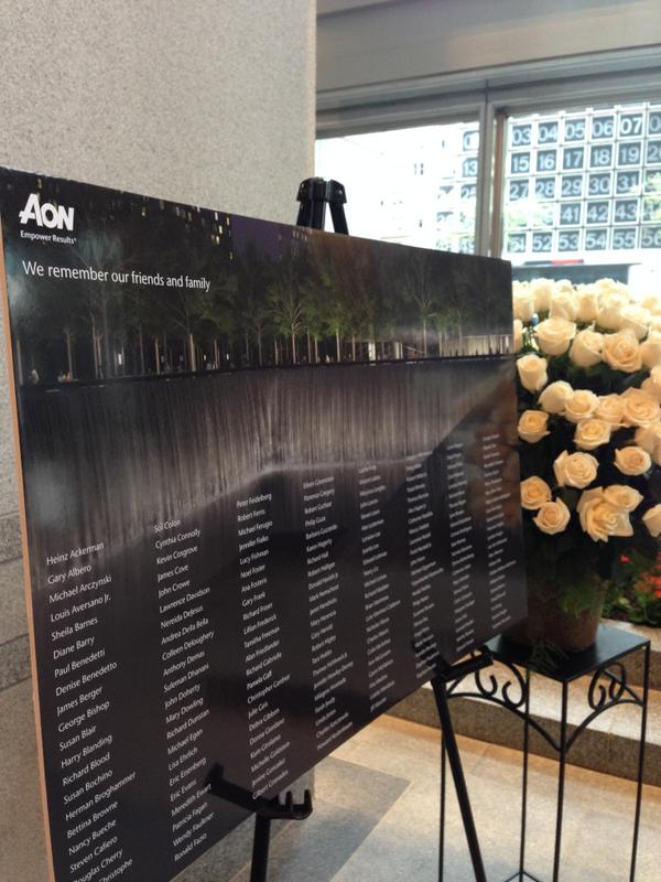In memory of the friends, family and colleagues we lost on 9/11/01, 176 flowers in our @AonNewYork office: http://t.co/CYVwkSv75l