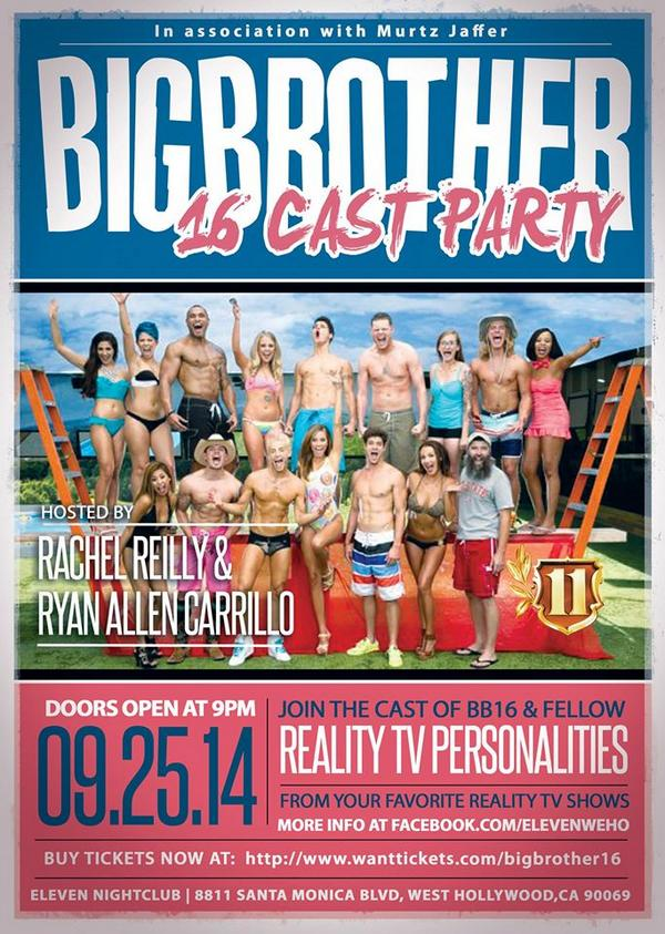 #BB16 finale cast event on sale now http://t.co/eNV5gpSRkn  @ElevenNightclub 9/25  18+ @RyanACarrillo @RachelEReilly http://t.co/t0wO5mOW22