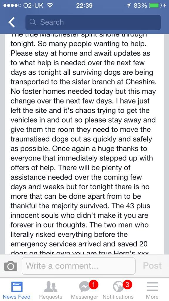 All surviving dogs are out.The whole dogs home is a crime scene & no one can go up.We still collect donations though http://t.co/G9HuM8hhCK