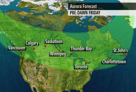 Nicole Karkic (@NicoleKarkic): A solar flare from the Sun, could produce brilliant Aurora Borealis across Canada on Thursday night.  #wantclearskies http://t.co/5zBEYKHaet