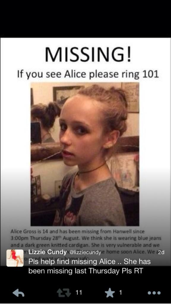 Friends little girl been missing now for over 2 weeks Alice Gross is from Hanwell Pls all my followers RT #FindAlice http://t.co/QdIHvPlyKk