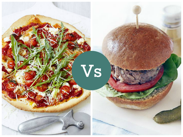 What would you rather have for dinner tonight – a pizza or a burger? #FridayFoodFight #teampizza #teamburger http://t.co/EMBl8Y9XYK