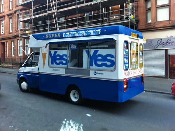 Aye's cream van. #IndyRef #yes http://t.co/MbMJ3LlsRN