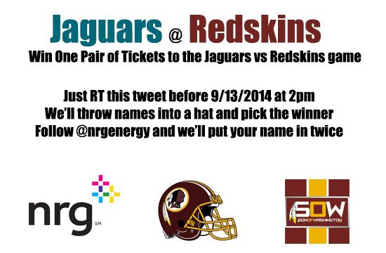 Win a pair of tickets to Sunday's game Jags vs Redskins Just RT this tweet. @nrgenergy @Redskins are AWESOME!! #HTTR http://t.co/fzhjaTxTUu